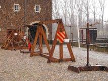 中世纪训练用具在Kasteel Hoensbroek,一m 库存照片