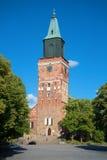 中世纪路德教会的大教堂在XIII世纪的后期修造了每晴天在8月芬兰 免版税库存照片