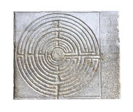 中世纪迷宫在罗马式教会o的门面雕刻了 免版税库存照片