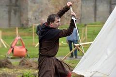 中世纪重建节日  库存图片