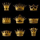 中世纪金皇家冠收藏 库存例证