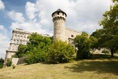 中世纪钉头锤塔和皇家城堡的美丽的景色 Buda 免版税库存图片