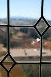 中世纪铅玻璃窗口 免版税库存图片