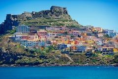 中世纪镇卡斯泰尔萨尔多,撒丁岛,意大利 库存图片