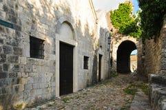 中世纪镇的街道 库存照片