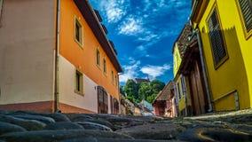 中世纪镇街道-地面看法 库存图片