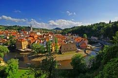 中世纪镇鸟瞰图  免版税库存照片