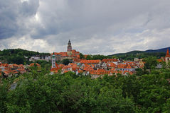 中世纪镇鸟瞰图  图库摄影