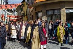 中世纪队伍在区 库存照片