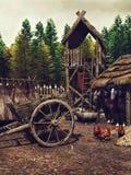 中世纪阵营在森林里 库存例证