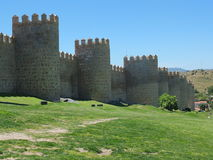 中世纪阿维拉墙壁 库存图片