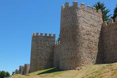 中世纪阿维拉墙壁 库存照片