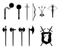 中世纪集武器 库存照片