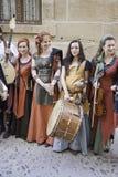 中世纪音乐家小组 库存图片