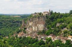 中世纪香客rocamadour城镇 库存照片