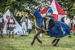 中世纪骑士战斗 免版税库存图片