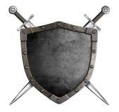 中世纪骑士盾和剑作为徽章 免版税库存照片