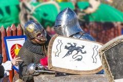 中世纪骑士谈 库存照片