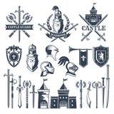 中世纪骑士题材单色图片和徽章  盔甲,剑的例证 库存例证