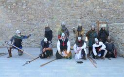 中世纪骑士reenactors 库存照片