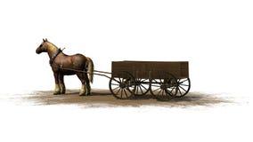 中世纪-与无盖货车的农厂马 免版税库存图片