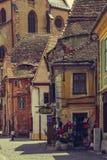 中世纪更低的镇,锡比乌,罗马尼亚 免版税库存图片