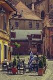 中世纪更低的镇,锡比乌,罗马尼亚 免版税库存照片