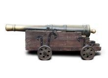 中世纪黄铜大炮 库存图片