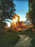 中世纪Cesis城堡在拉脱维亚,欧洲 免版税库存照片