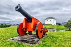 中世纪Kristiansten堡垒在特隆赫姆 挪威 免版税库存图片