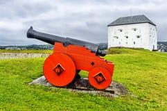 中世纪Kristiansten堡垒在特隆赫姆 挪威 免版税图库摄影