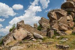 中世纪Markovi Kuli城堡的废墟 库存照片