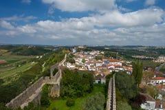 中世纪Obidos堡垒和风景  免版税库存图片