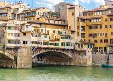 中世纪Ponte Vecchio桥梁细节  免版税图库摄影