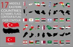 17中东国家- A-Z名字、旗子、等高和地图在等高 免版税库存照片