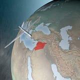 中东如被看见从空间,寄生虫 库存照片