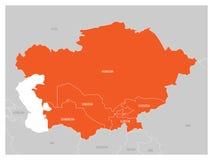 中亚地区地图和橙色被突出的哈萨克斯坦、吉尔吉斯斯坦、塔吉克斯坦、土库曼斯坦和乌兹别克斯坦 平面 库存例证