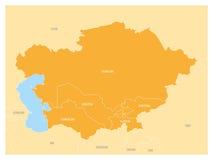 中亚地区地图和橙色被突出的哈萨克斯坦、吉尔吉斯斯坦、塔吉克斯坦、土库曼斯坦和乌兹别克斯坦 平面 向量例证