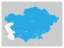 中亚地区地图和蓝色被突出的哈萨克斯坦、吉尔吉斯斯坦、塔吉克斯坦、土库曼斯坦和乌兹别克斯坦 平面 库存例证