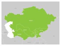 中亚地区地图和绿色被突出的哈萨克斯坦、吉尔吉斯斯坦、塔吉克斯坦、土库曼斯坦和乌兹别克斯坦 平面 库存例证