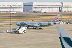 中华航空公司欢迎飞行 图库摄影