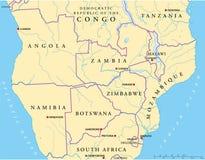 中南部的非洲政治地图 库存图片
