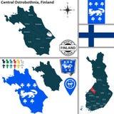 中博滕区,芬兰地图  免版税图库摄影