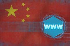 中国万维网(万维网) 背景蓝色颜色概念互联网 库存图片
