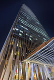 中国世界贸易中心塔3在晚上,北京,中国 免版税库存图片