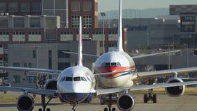中国东方航空公司空中客车A330拖曳  影视素材