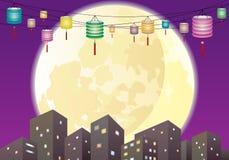 中国中间秋天灯笼城市夜场面 免版税库存图片