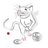 中国书法鼠2020年 库存例证