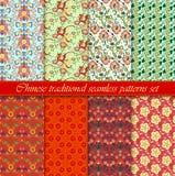 中国亚洲无缝的传染媒介样式背景集合 传统的装饰品 库存图片