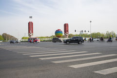 中国亚洲,北京,奥林匹克风景大道,亚太经合,象征 免版税库存照片